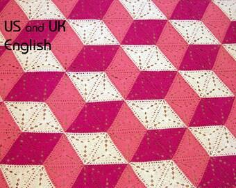 3D illusion blanket Crochet Pattern. Stacked cubes, Optical illusion, tumbling blocks. Granny triangle. US & UK English