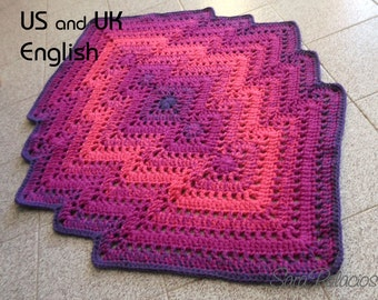 Crochet Bargello Rug, Crochet Pattern. Bargello rug pattern. Crochet ombre rug. Crochet rug pattern. Activities carpet. Baby play mat