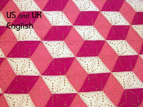3D illusion blanket Crochet Pattern. Stacked cubes, Optical illusion, tumbling blocks. Granny triangle. US & UK English