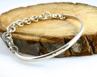 Bangle Bracelet, Chain Bracelet, Modern Bangle, Sterling Silver Bangle, Hammered Bracelet, Silver Bracelet, Hand forged Bracelet
