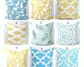 Blue Pillows, Gold Pillows, Yellow Pillows,.Pillow Cover, Decorative Pillow, Throw Pillow, Pillows, Gold Pillows, All Sizes, Euro, Cushion