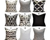 Black Pillows, Black Pillow Covers, ALL SIZES, Black Decorative Pillows, Black Tan, Chevron.Diamonds, Ikat, ZigZag, Greek Key,Gray, Cushion