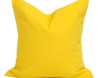 Solid Yellow Pillow, Yellow Pillow Cover, Decorative Pillow, Yellow Throw Pillow, Outdoor Pillow ,18x18, 16x16, 22x22, 24x24, 26x26 and more