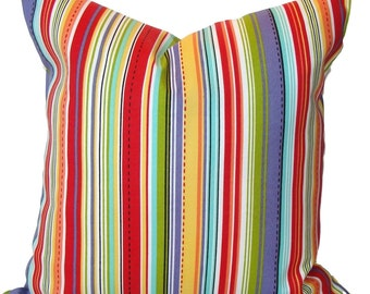Stripe Pillow, Stripe Pillow Cover, Decorative Pillow, OUTDOOR Pillow, Pillow,18x18, 16x16, 22x22, 24x24, 26x26 and more-Outdoor Cushion
