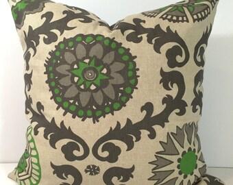 BROWN Pillow.18x18 inch.Pillow Cover.Decorative Pillows.Throw Pillow Cover.Brown Damask.Brown Green.Cushion.Housewares.Floral.cm