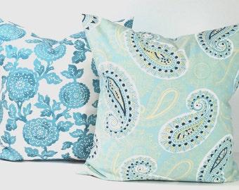 BLUE PILLOW SET.18x18 Inch Pillow Covers.Cm.Cushion.Blue Decor.Blue.Blue Paisley Pillows.Pillow Set.Blue Cushions.House Decor.Dots.Floral.cm