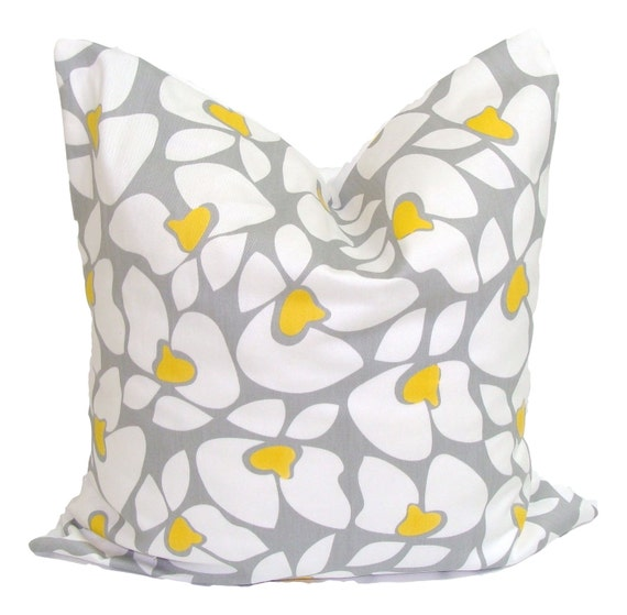 GRAY YELLOW PILLOW.16x16 inch Decorative Pillows.Pillow Cover.Floral Pillow Cover.Grey Yellow Pillow.Flowers..Cushion Cover.Nursery Pillow