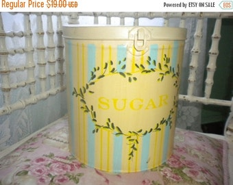 SUMMER SALE Lovely Hand Painted Sugar Canister, Eclectic, Country, French Country,shabby chic