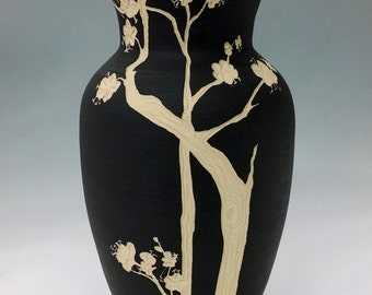 Cherry Blossom Vase: Black and White Hand Painted and Carved Ceramic Vase, Heirloom-Quality Functional Art Pottery