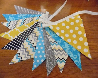 Fabric Banner, Bunting Banner, Photo Prop, Wedding, Nursery Decor, Teal, Gray, Black, Grey, Yellow Gold, Chevrons, Dots, Ready to Ship!!
