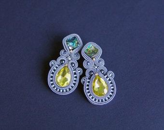 soutache earrings, grey earrings, crystal earrings, crystal earrings, wedding earrings, gift for woman, long earrings, gift for girls