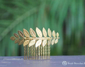 Gold Brass Leaf Hair Comb, Wedding Hair Comb,Bridal Hair Comb,Wedding Hair Accessories,Laurel Gold Hair Comb, Hair Accessory,Gold Leaf