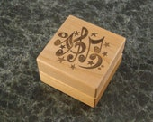 Custom Design Engagement Ring Box -  Soundwave and Sheet Music Wood Ring Box