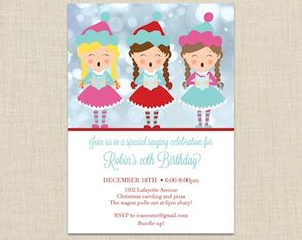 Christmas Caroler Invitations, Christmas Caroling Party, Caroling birthday party
