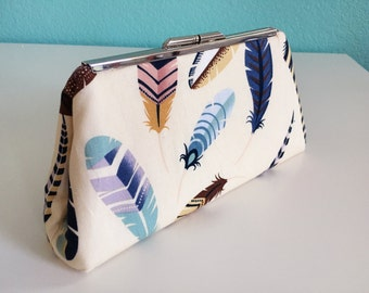 Modern Clutch Purse, Clutch Purse, Handbag, Feather Fabric, Clutch