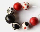 African beads, handmade African beads, black, white, red ceramic beads, large pottery beads from Africa, clay beads, bead set, African