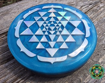Custom- Made To Order - Holographic Glow in the Dark Orgone Sri Yantra Charging Plate - EMF Blocker - Energy Balance - Hand Made