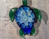 Light Blue Fumed Turtle Borosilicate Pendant