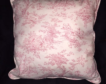 """Pink Toile Pink Pillow Cover """"Central Park""""  18"""""""