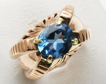 Vintage 14k rose gold 6 carat oval Blue Topaz Ring Large Bulky Estate Handmade
