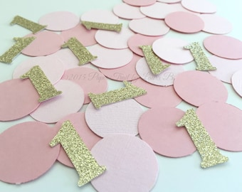 Pink and Gold Glitter Number Confetti. Circle Table Confetti, Bridal Showers, Birthday Parties. First Birthday Decor. 50CT Confetti