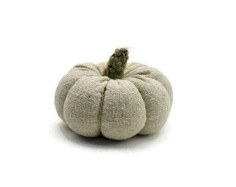 Linen Fabric Pumpkin, off White Fabric Pumpkin, Home Halloween Decor, Fall Country Home Accent