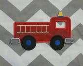 Red fire truck with blue wheels- iron embroidered fabric applique patch embellishment- ready to ship