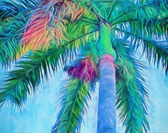 Caribbean Blue I, Canvas, Palm Trees, Royal Palm, Palm Tree Wall Art, Ready to Hang Canvas, Palm Trees, Tropical Art,  Palm Paintings