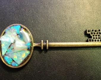 Lab Created White and Blue Opal Mosaic Key Pendant