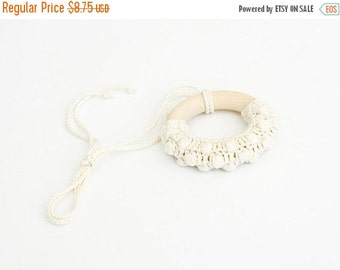 Teething Ring, Wooden Crocheted Baby Teether, Baby Toy, Waldorf, Eco-Friendly, Neutral Color - FrejaToys