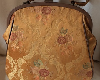 Vintage Italian Brocade Fabric and Leather-type Frame Purse