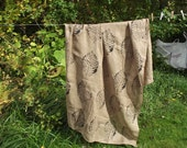 Two panels of vintage block printed curtains in taupe and black. Swedish vintage 1970s.