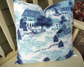 Farmhouse Pillow Cover - Cottage Chic Pillow Cover - Blue Pillow Cover - Rustic Pillow Cover