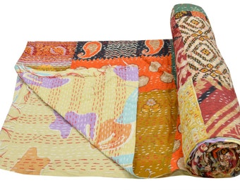 Vintage Heavy Kantha Quilt Gudri Reversible Throw Ralli Bedspread Bedding India DW41