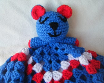 Crocheted Chicago Cubs Inspired Lovey Snuggle/Security Blankie