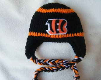 Crocheted Bengals Inspired Team Colors or (Choose your team)  Football Helmet Baby Beanie/hat - Made to Order - Handmade by Me
