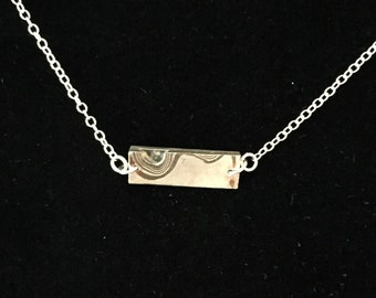 Mokume Gane bar necklace