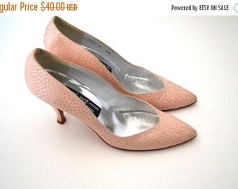 ON SALE Blush Pink Heels Beautiful Polka Dot Size 8AAA
