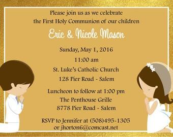 First Communion Invitation Gold - Twins  (Digital File) / Twns First Communion Invitation / Gold First Communion Invitation