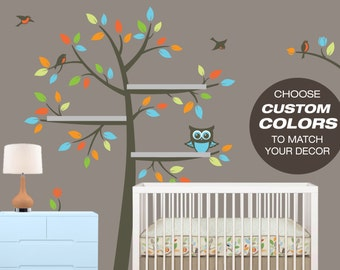 Tree Wall Decals for Floating Shelves - Nursery Decor - Tree Bookshelf - Wall Decals Nursery
