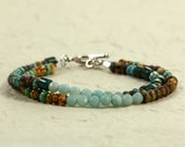 Two-Strand Czech Glass Bead and Amazonite Bracelet with Hill Tribe Silver Beads, Southwestern Bracelet, Blue Bracelet, Multi-Strand