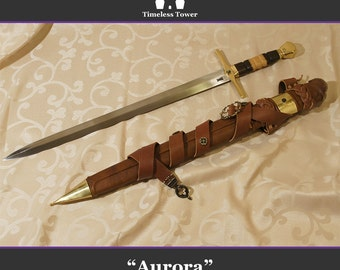 "Battle Ready Custom Sword ""Aurora"" / Beautiful High Quality Steel (includes leather (over wood) scabbard)"