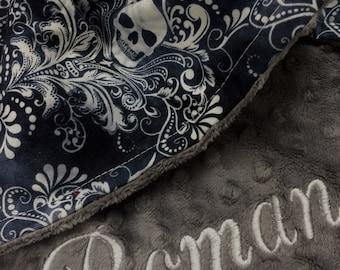 Dog Blanket, Puppy Blanket, Pet Blanket, Cat Blanket, Skull Print Dog Blanket, Skull Print Pet Blanket, Personalized Dog Blanket
