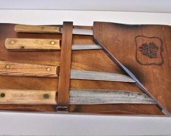 Vintage Old hickory Tru Edge 4 Kives butcher Knives Set in Wood Knife holder Kitchen Butcher Knives