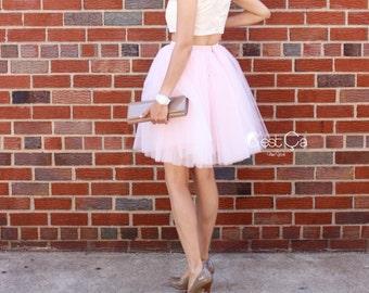 Clarisa - Blush Pink Tulle Skirt, Princess Tutu, Pale Pink Puffy Tulle Skirt, Midi Tutu, Plus Size Tulle Skirt, Bridesmaids Skirt