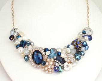 Sapphire Blue Necklace- Navy Statement Necklace- Blue Bridal Necklace- Something Blue Necklace- Navy Blue Bib Necklace-Brass Boheme-Blue Bib