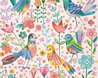 Full Pack - 20 Paper Napkins / Serviettes for Decoupage / Tea Parties / Weddings - Dancing Birds