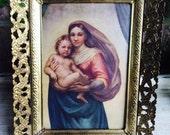 Vintage Framed Mary and Jesus Framed Madonna Religious Print