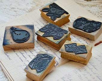 Vintage French, school stamps, wood mounted, rubber stamps, educational stamps, set of 6, fruit stamps, old French stamp, mid century, set 3