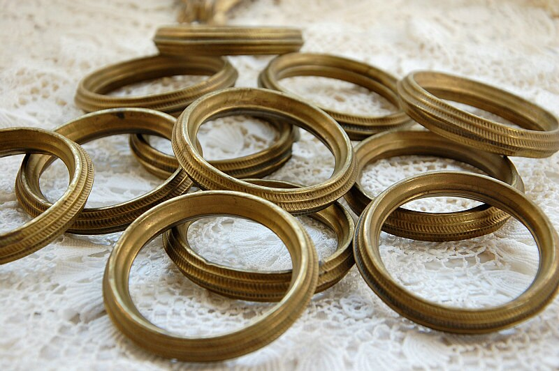 Antique French Curtain Rings Drapery Rings Gilt Toleware